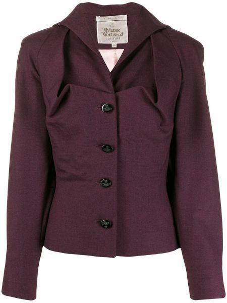 Шерстяная фиолетовая куртка на пуговицах с лацканами Vivienne Westwood Pre-owned