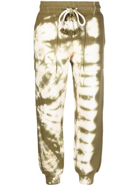 Białe spodnie bawełniane z printem Ulla Johnson