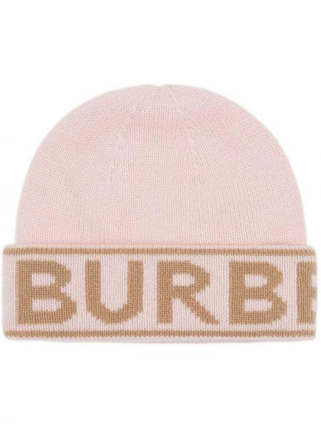 Z kaszmiru różowa czapka Burberry