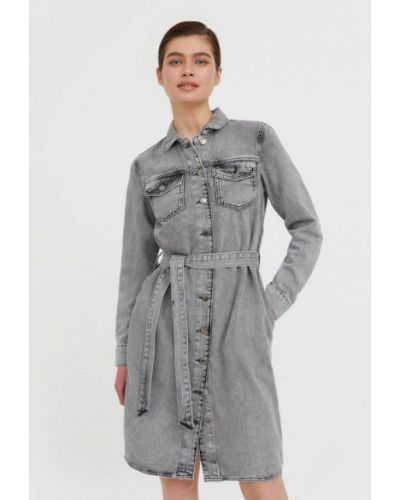 Расклешенное свободное серое джинсовое платье Finn Flare