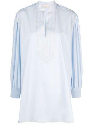 Niebieski bawełna bawełna z rękawami tunika Tory Burch