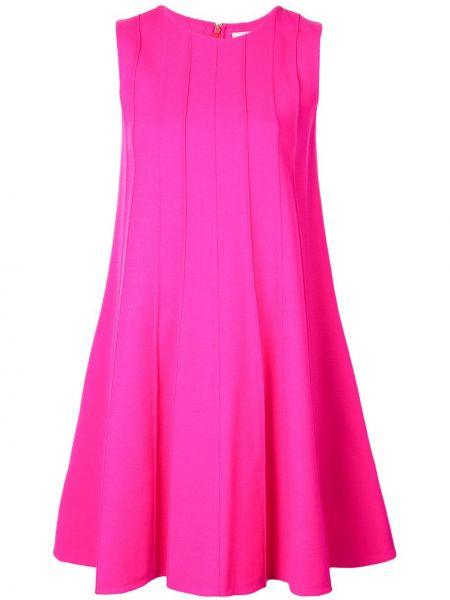 Розовое платье в рубчик на молнии с карманами Oscar De La Renta