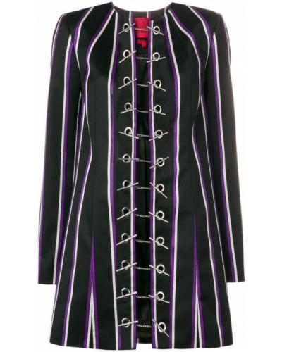 Черное длинное пальто с капюшоном на пуговицах Rouge Margaux