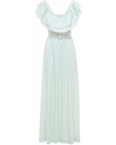 Хлопковое платье макси с поясом с оборками Luisa Beccaria