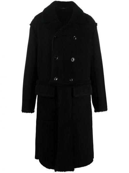 Czarny prosto długi płaszcz z kołnierzem z długimi rękawami Tom Ford