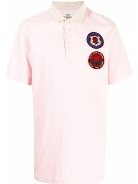 Różowa koszula krótki rękaw bawełniana Kent & Curwen