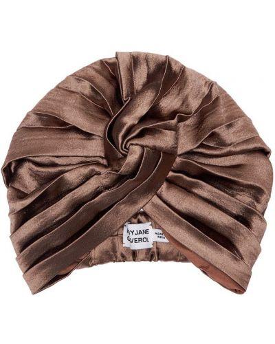 Satyna pofałdowany turban na gumce Mary Jane Claverol