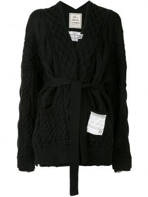 С рукавами шерстяной черный вязаный кардиган с запахом Maison Mihara Yasuhiro