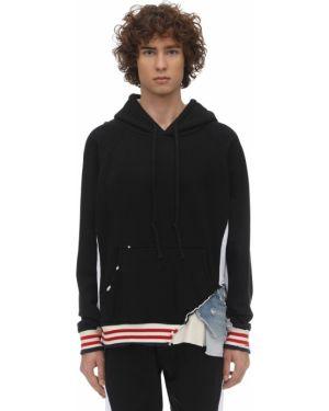 Czarna bluza z kapturem w paski Greg Lauren