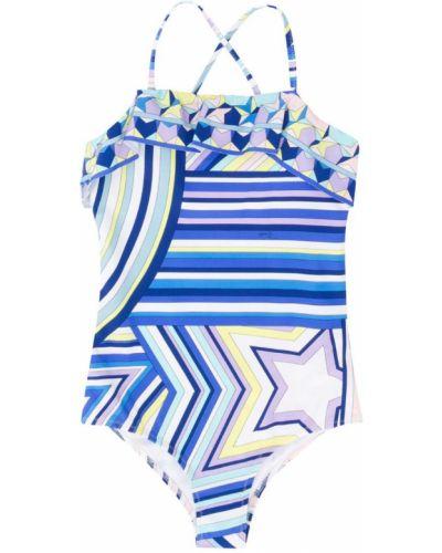 Слитный купальник с принтом синий Emilio Pucci Junior
