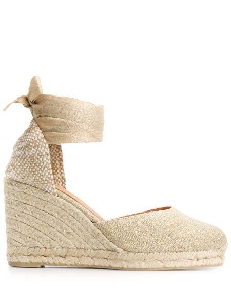 Кожаные эспадрильи на шнуровке на каблуке Castañer