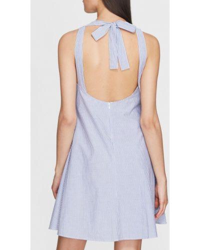 Хлопковое синее платье мини с открытой спиной Mavi