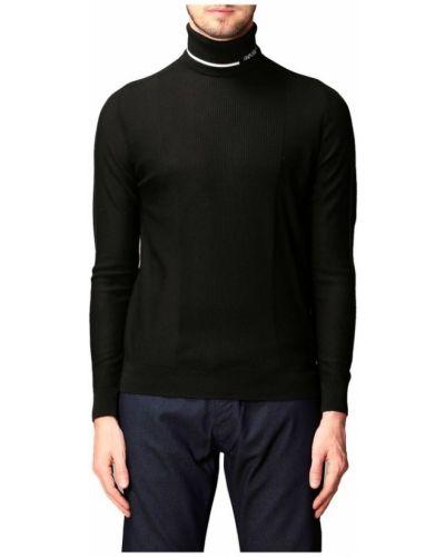Czarny pulower wełniany z długimi rękawami Emporio Armani