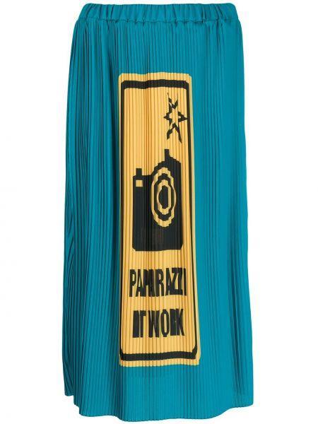 Prążkowana niebieska spódnica midi z printem Ultrachic