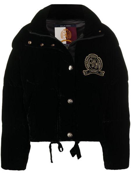 С рукавами пуховая черная длинная куртка с вышивкой Hilfiger Collection