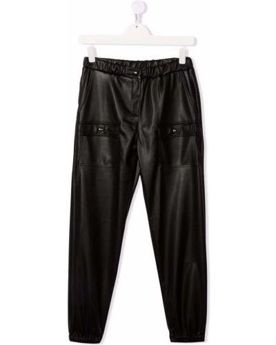 Czarne spodnie skorzane Msgm Kids