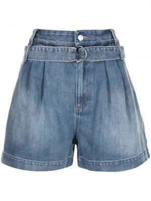Хлопковые с завышенной талией джинсовые шорты с поясом Tibi