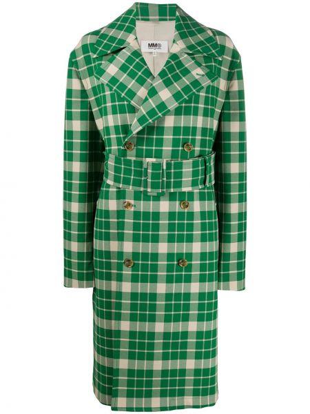 Зеленый длинное пальто с поясом с лацканами Mm6 Maison Margiela