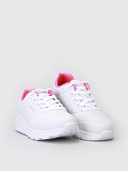 Мягкие белые кроссовки на платформе Skechers