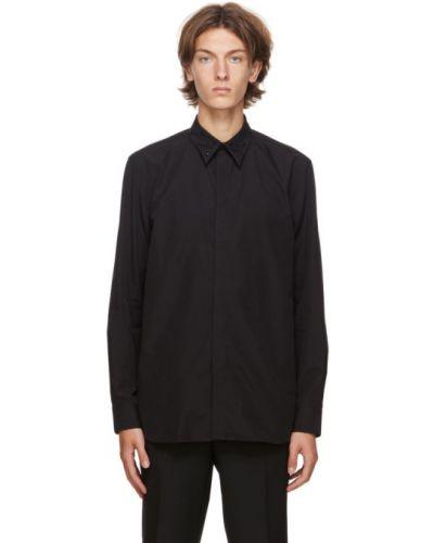 Bawełna czarny koszula z mankietami z haftem Givenchy
