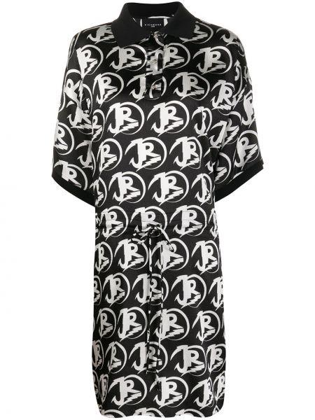 Черное платье миди на пуговицах с воротником эластичное John Richmond