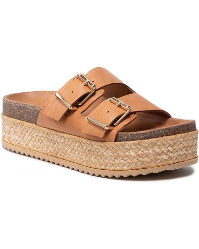 Brązowe sandały espadryle Inuovo