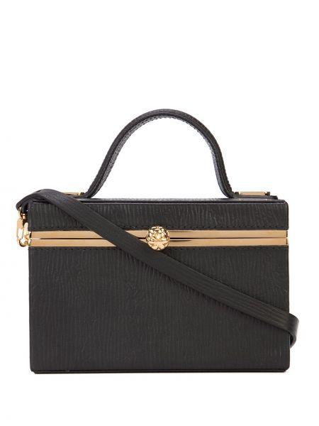 Золотистая черная сумка на плечо круглая с карманами Tyler Ellis