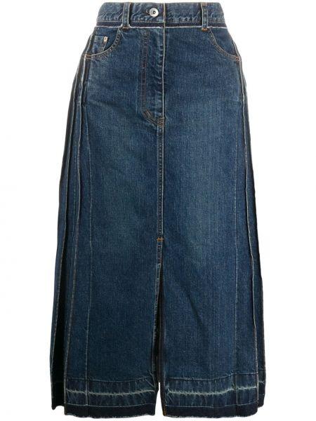 С завышенной талией синяя плиссированная джинсовая юбка Sacai