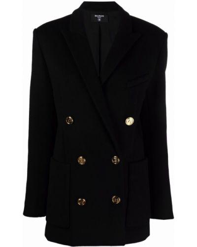 Черное шерстяное пальто Balmain