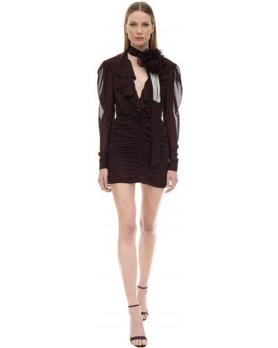 Czarna sukienka mini w grochy z długimi rękawami Marianna Senchina