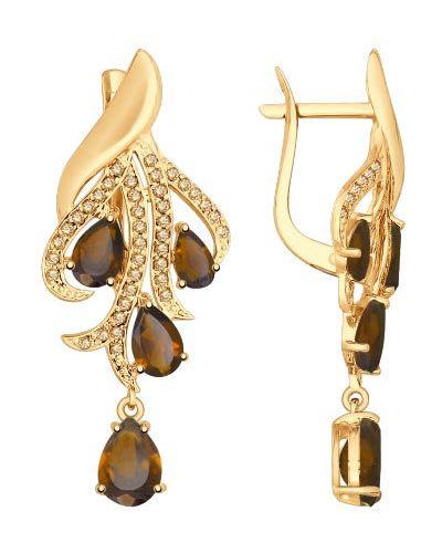 Золотые серьги с топазом королевы Sokolov