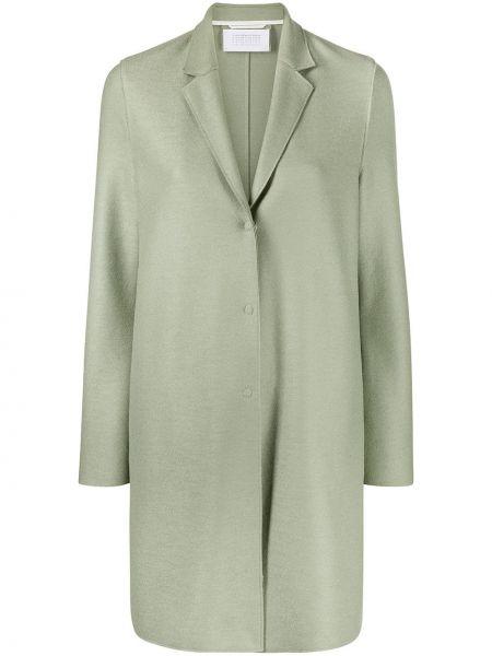 Прямое зеленое шерстяное длинное пальто Harris Wharf London