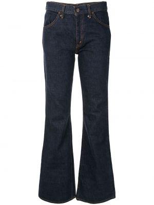 Синие расклешенные классические брюки винтажные с поясом Fake Alpha Vintage