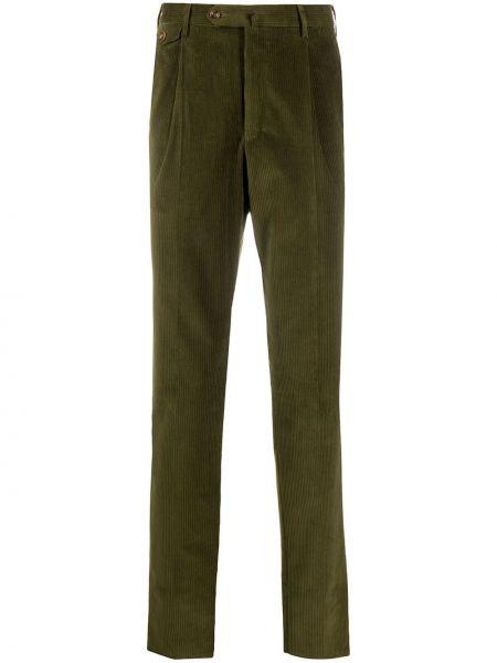 Прямые зеленые прямые брюки вельветовые на пуговицах Pt01
