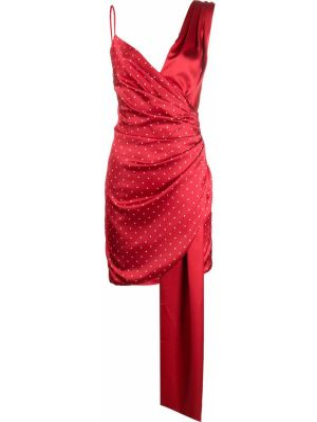Красное платье с V-образным вырезом на молнии без рукавов Misha Collection
