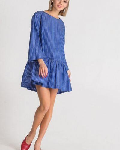 Повседневное хлопковое синее платье с оборками Vovk