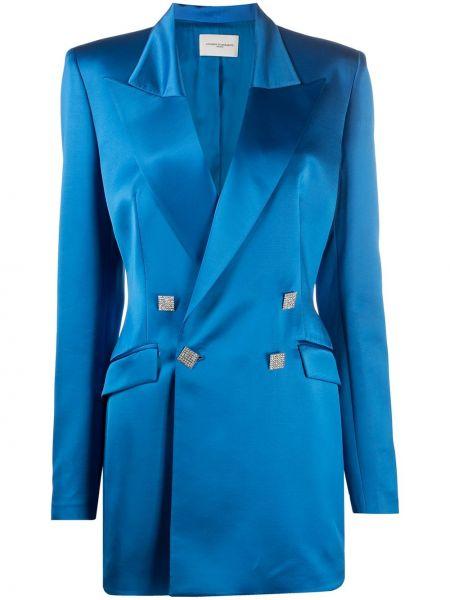 Шерстяной синий удлиненный пиджак двубортный Giuseppe Di Morabito