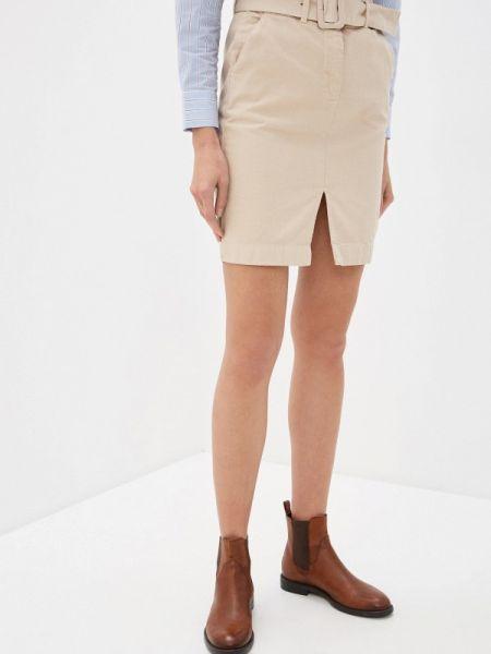 Джинсовая юбка бежевый весенняя Ichi