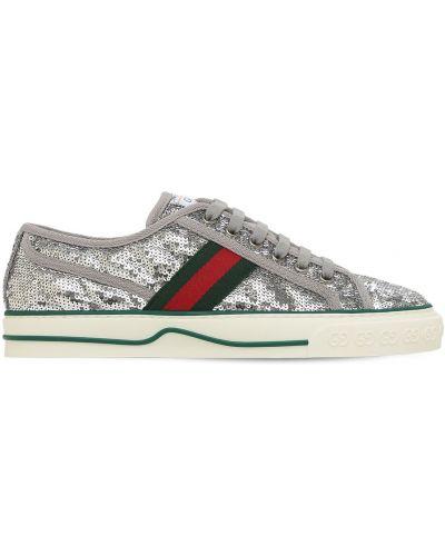 Satynowe sneakersy sznurowane koronkowe Gucci