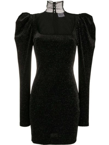 Черное платье мини с вышивкой сетчатое с кокеткой Redemption