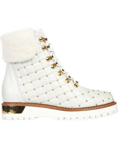 Белые ботинки на каблуке L'estrosa