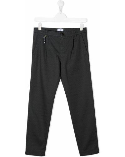 Темно-серые прямые прямые брюки с вышивкой с поясом Dondup Kids