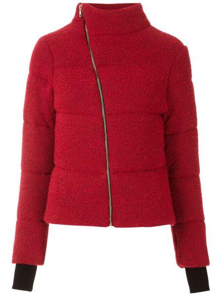 Красное стеганое пальто на молнии узкого кроя из мохера Uma   Raquel Davidowicz
