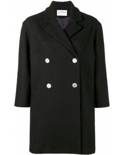 Синее шерстяное пальто с капюшоном Osman