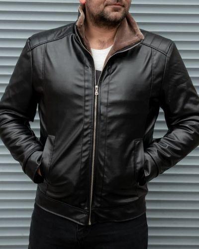 Кожаная куртка с мехом - коричневая Rozetka