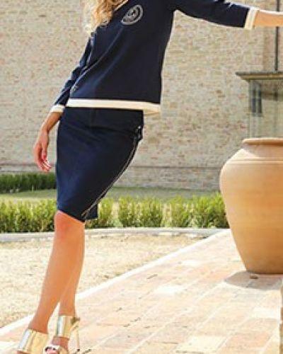 Юбка миди - синяя Elisa Fanti