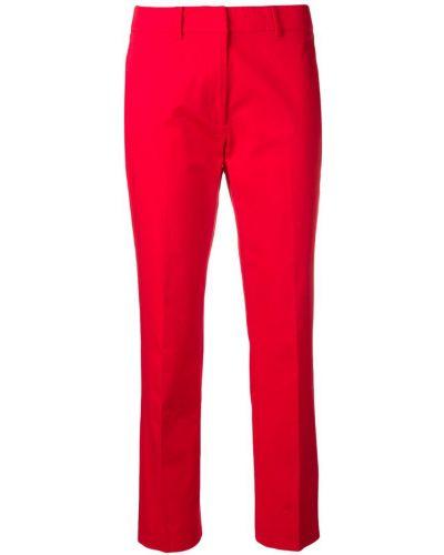 Красные укороченные брюки с воротником с поясом Weekend Max Mara