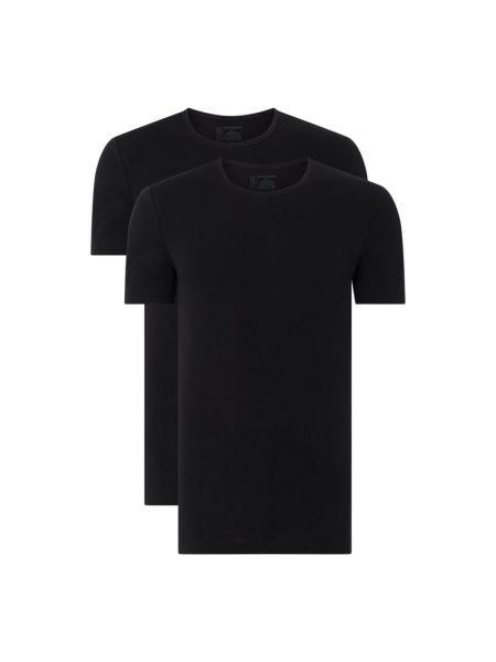 Czarny t-shirt bawełniany Schiesser
