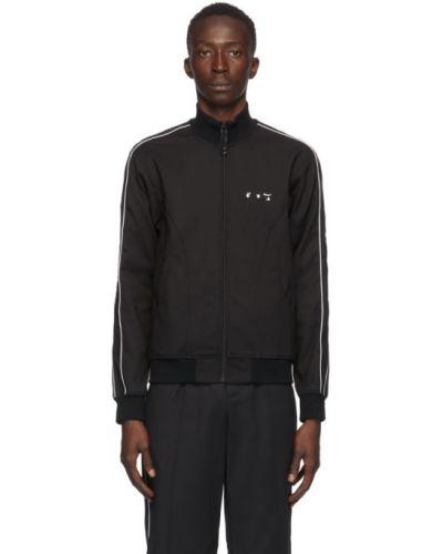 Bawełna czarny długa kurtka z mankietami z kołnierzem Off-white