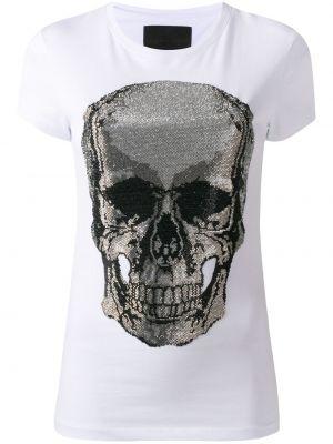 Белая футболка с вырезом с черепами Philipp Plein